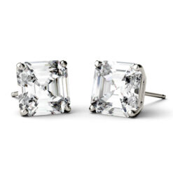 Asscher Moissanite Forever One Stud Earrings