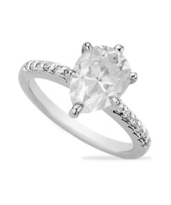 Pear Moissanite Forever One Solitaire Engagement Ring