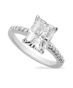 Radiant Moissanite Forever One Solitaire Engagement Ring