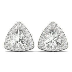 1.50 CT TRILLION MOISSANITE FOREVER ONE HALO EARRINGS