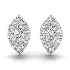2.60 CT MARQUISE MOISSANITE FOREVER ONE HALO EARRINGS