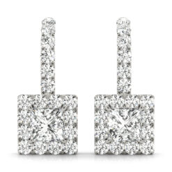 1.75 CT SQUARE MOISSANITE FOREVER ONE HALO DROP EARRINGS