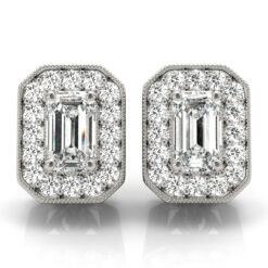 1.05 CT-2.70 CT EMERALD MOISSANITE FOREVER ONE HALO EARRINGS