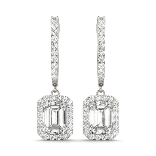 4.35 CT EMERALD MOISSANITE FOREVER ONE HALO DROP EARRINGS