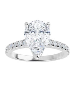 Pear Moissanite Forever One Engagement Ring