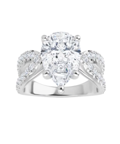 Pear Moissanite Forever One Split Band Engagement Ring
