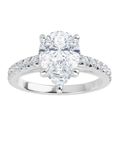 Pear Moissanite Forever One Hidden Halo Engagement Ring