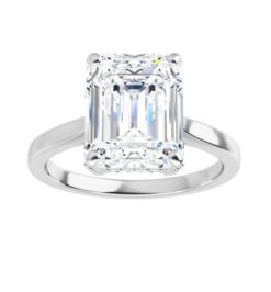 Emerald Moissanite Forever One Hidden Halo Engagement Ring