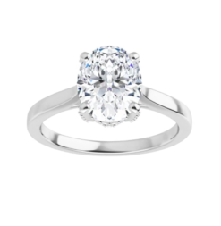 Oval Moissanite Forever One Hidden Halo Engagement Ring