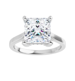 Square Moissanite Forever One Hidden Halo Engagement Ring