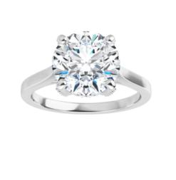 Round Moissanite Forever One Hidden Halo Engagement Ring