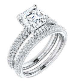 Asscher Moissanite Hidden Halo Engagement Ring - 2.76tcw - 3.43tcw