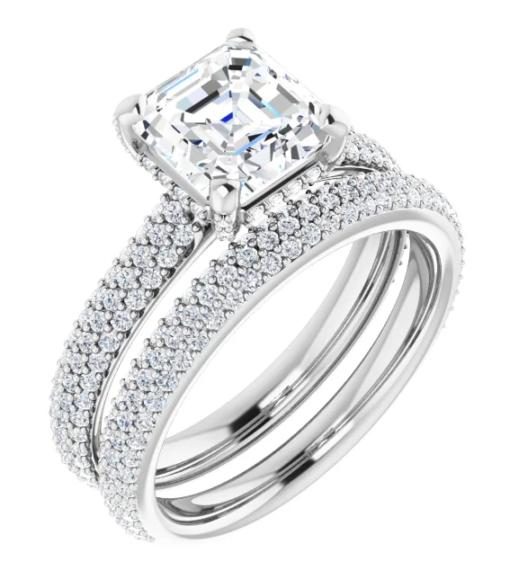 Asscher Moissanite Hidden Halo Engagement Ring - 2.76tcw - 3.43tcw