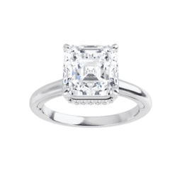 Asscher Moissanite Hidden Halo Engagement Ring - 1.55tcw - 3.40tcw