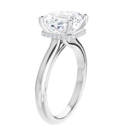 Asscher Moissanite Hidden Halo Engagement Ring - 1.55tcw - 3.40tcw