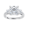Cushion Moissanite 3 Stone Ring - 2.55tcw - 4.05tcw