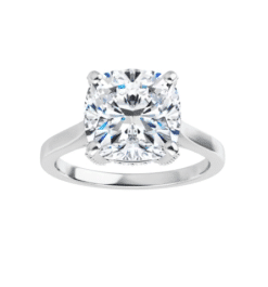 Cushion Moissanite  Hidden Halo Engagement Ring - 1.90tcw - 5.20tcw