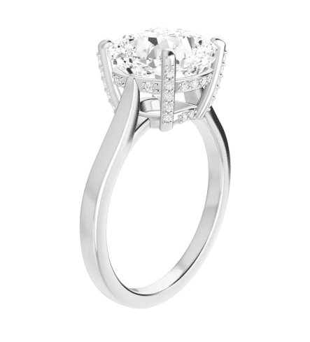 Cushion Moissanite  Hidden Halo Engagement Ring - 1.90tcw - 5.20tcw