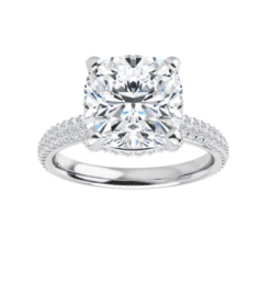 Cushion Moissanite Hidden Halo Engagement Ring - 2.25tcw - 5.55tcw