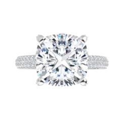 Cushion Moissanite Hidden Halo Engagement Ring - 2.25tcw - 5.55tcw