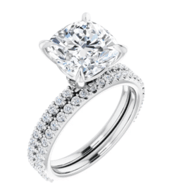 Cushion Moissanite Hidden Halo Engagement Ring - 2.10tcw - 5.40tcw