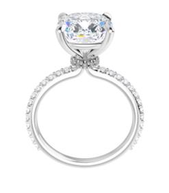 Cushion Moissanite Hidden Halo Engagement Ring - 2.10tcw - 5.40tcw