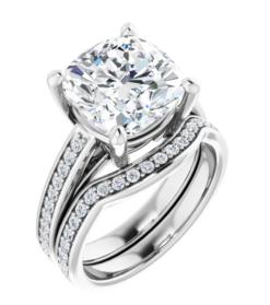 Cushion Moissanite Side Stone Engagement Ring - 1.35tcw - 5.25tcw