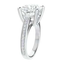Cushion Moissanite Side Stone Engagement Ring - 1.35tcw - 5.25tcw