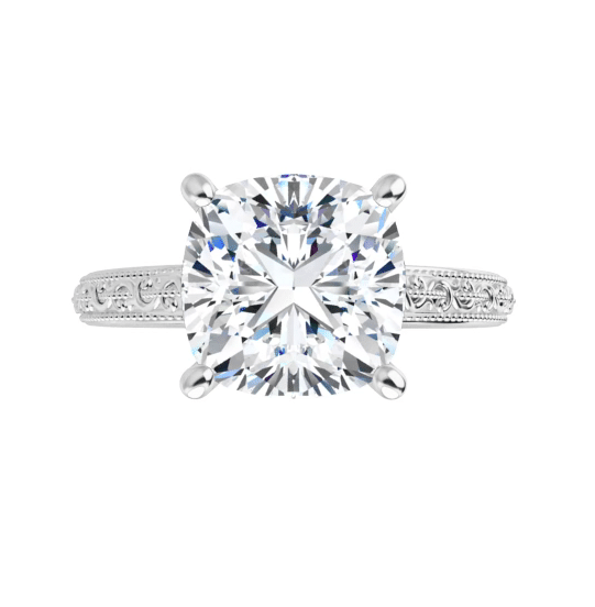 Cushion Moissanite Solitaire Ring - 1.70tcw - 5.00tcw