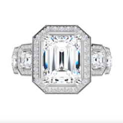 Emerald And Asscher Moissanite Halo Engagement Ring - 3.45tcw - 5.25tcw