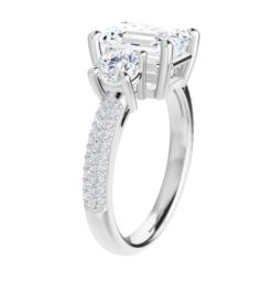 Emerald Moissanite 3 Stone Engagement Ring - 2.60tcw - 5.85tcw