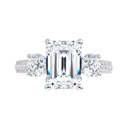Emerald Moissanite 3 Stone Ring - 2.50tcw - 3.30tcw