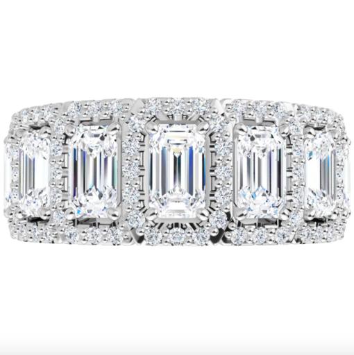 Emerald Moissanite 7 Stone Pave Anniversary Ring - 2.30tcw
