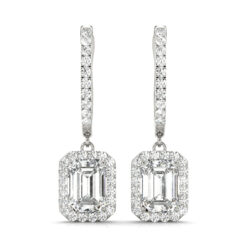 Emerald Moissanite Halo Drop Earrings  - 4.35tcw