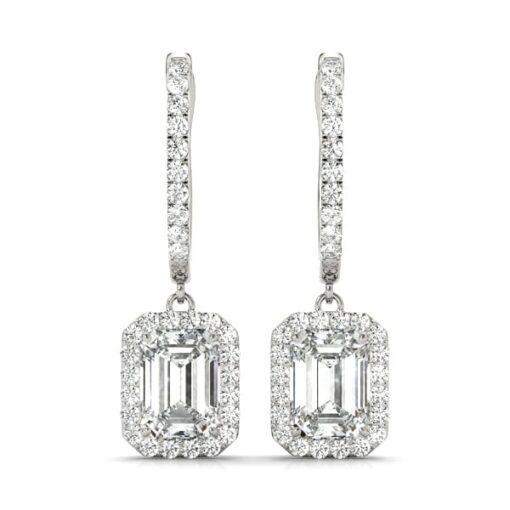 Emerald Moissanite Halo Drop Earrings  - 4.35tcw