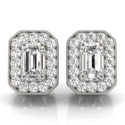 Emerald Moissanite Halo Stud Earrings - 1.05tcw - 2.70tcw