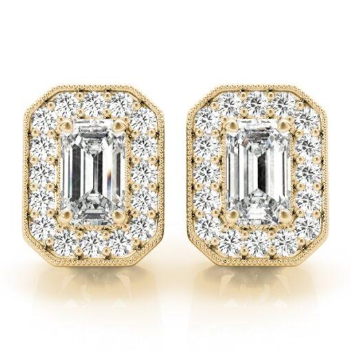 Emerald Moissanite Halo Stud Earrings - 1.05tcw - 2.70tcw
