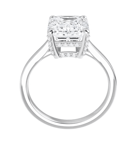 Emerald Moissanite Hidden Halo Engagement Ring - 1.95tcw - 5.15tcw