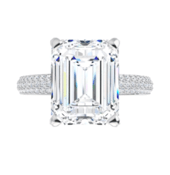 Emerald Moissanite Hidden Halo Engagement Ring - 2.30tcw - 5.50tcw