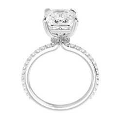 Emerald Moissanite Hidden Halo Engagement Ring - 2.15tcw - 4.45tcw