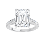Emerald Moissanite  Hidden Halo Engagement Ring - 2.75tcw - 5.95tcw