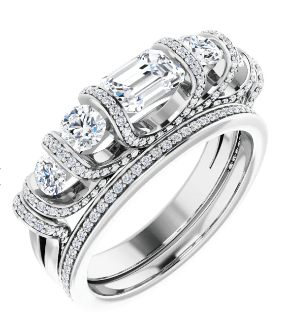 Emerald & Round Moissanite Anniversary Wedding Band Ring - 1.41tcw