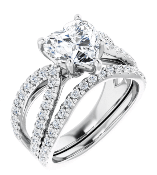 Heart Moissanite Split Band Engagement Ring - 2.30tcw