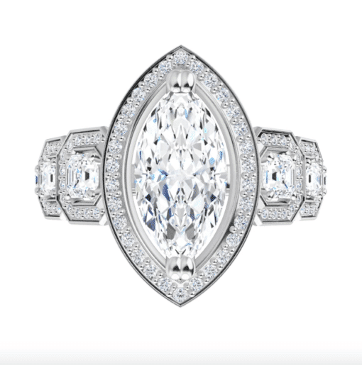 Marquise And Asscher Moissanite Halo Engagement Ring - 2.70tcw - 3.50tcw
