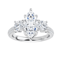 Marquise Moissanite 3 Stone Engagement Ring - 1.85tcw - 2.65tcw