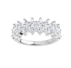 Marquise Moissanite Anniversary Wedding Band Ring - 2.00tcw