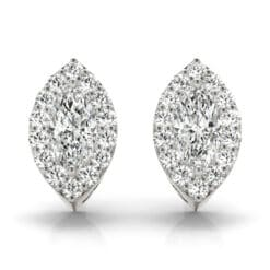 Marquise Moissanite Halo Stud Earrings - 2.60tcw