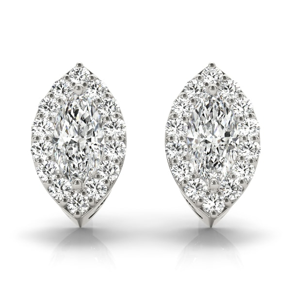 Marquise Moissanite Halo Stud Earrings - 2.60tcw