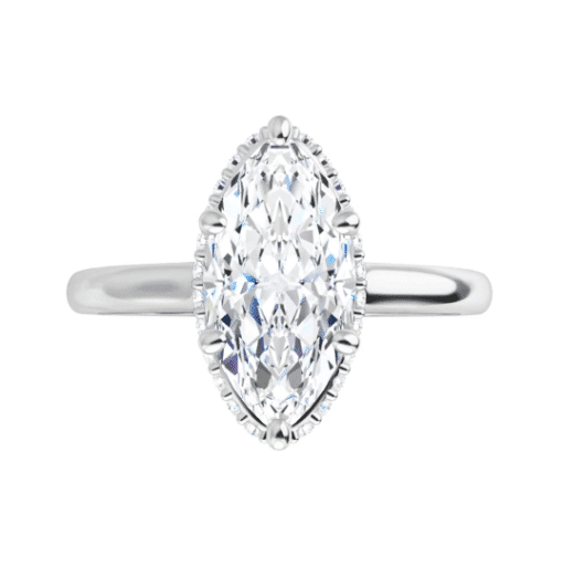 Marquise Moissanite Hidden Halo Engagement Ring - 1.25tcw - 2.05tcw
