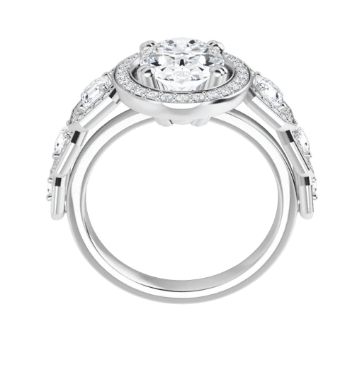 Oval And Asscher Moissanite Halo Engagement Ring - 2.60tcw - 4.70tcw